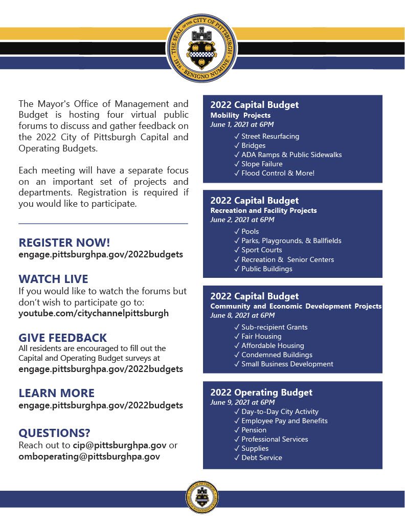 Poster outlining information outlined in the above text for Pittsburgh capital and operating budget engagement opportunities.